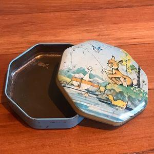 Adorable vintage metal storage tin - Bunny, duck
